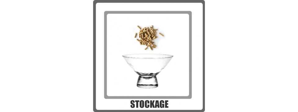 Stockage, réservoir pour le rangement de votre granulés près du poêle. Granulebox et chariot à pellets